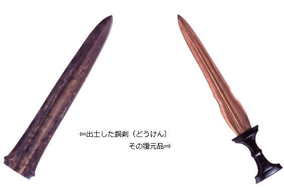 出土した銅剣とその復元品